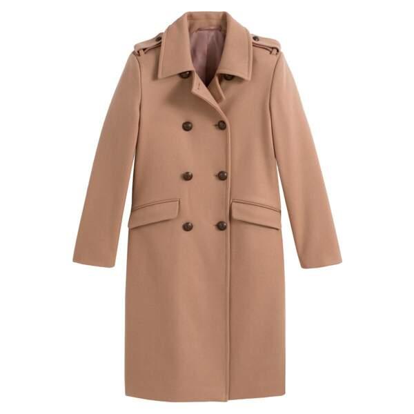 Manteau style militaire en laine camel clair, 129,99€, La Redoute collections