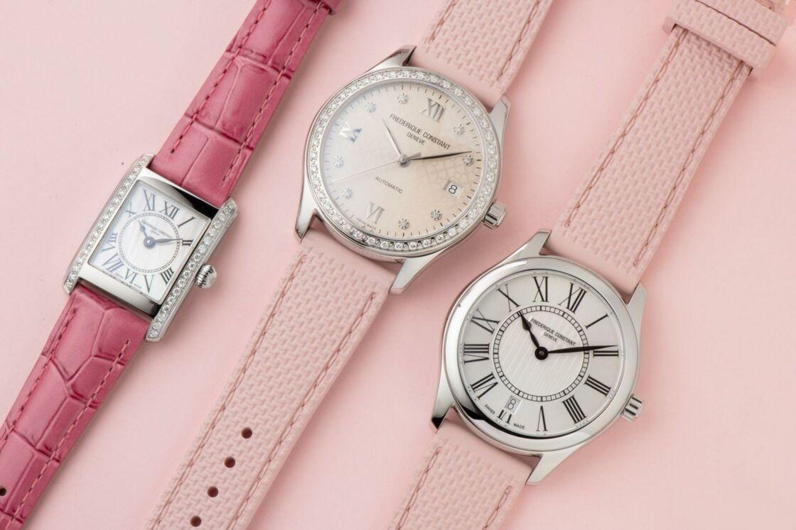 Les trois modèles au choix, la Ladies Classics Quartz, la Classics Carrée Lad et la Ladies Automatic. Pour chaque montre vendue, du 1er au 31 octobre, Frédérique Constant reverse 10% au Ruban Rose.