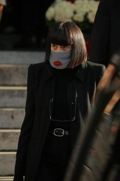 Chantal Thomass, présente aux funérailles de Kenzo Takada au cimetière du Père Lachaise, à Paris, ce 9 octobre.