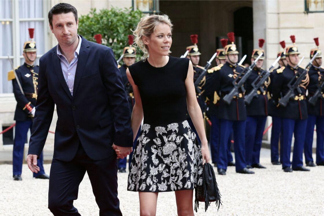 Tiphaine Auzière et son compagnon Antoine, au palais de l'Élysée, le 14 mai 2017.