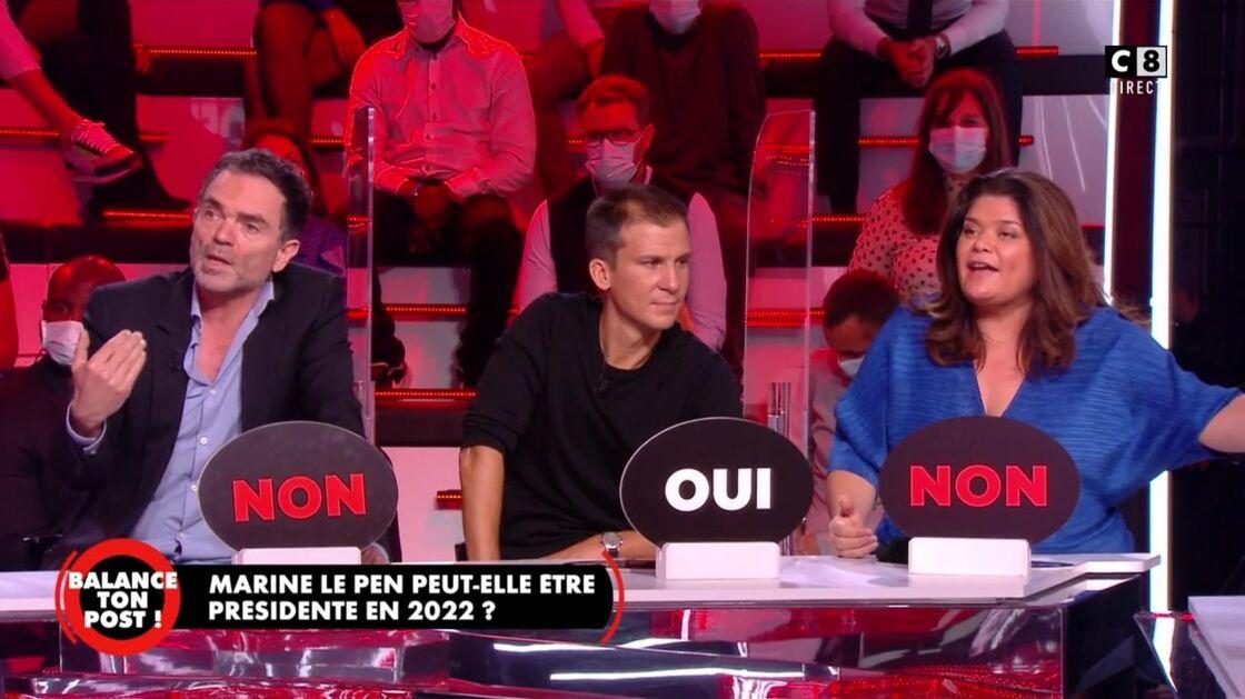 Yann Moix, Gaspard Gantzer et Raquel Garrido dans Balance ton post, jeudi 8 octobre 2020.