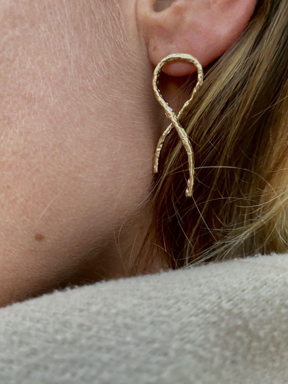 100% des bénéfices de cette boucle d'oreille Lõu Yetu à 50€, sont reversés à l'association Ruban Rose.