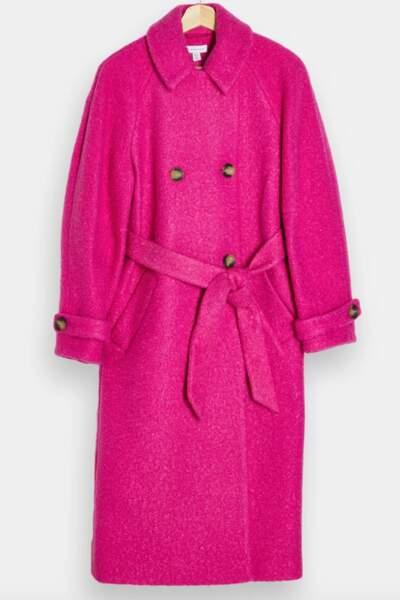 Manteau rose, 110 €, Topshop