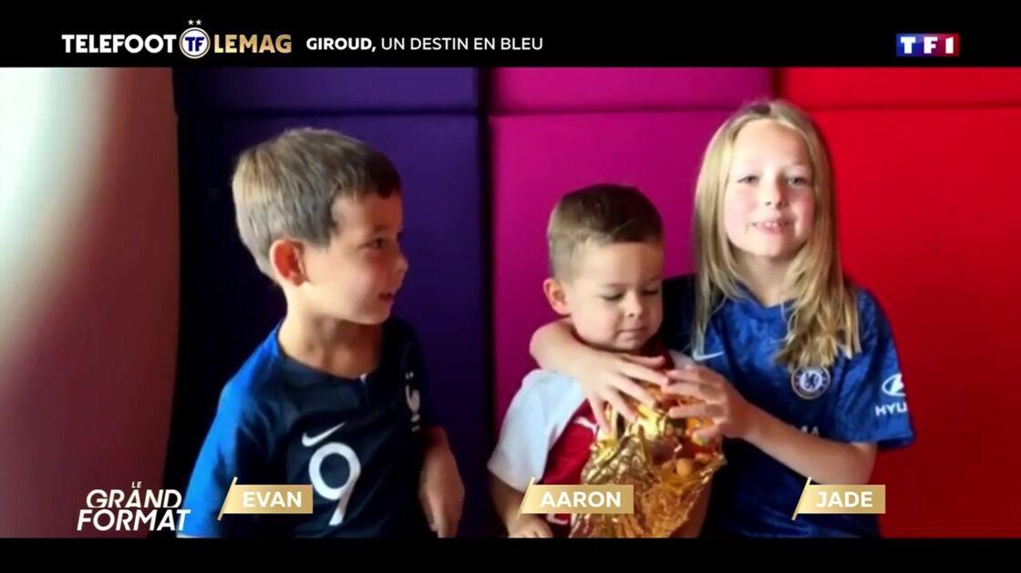 Evan, Aaron et Jade, les enfants d'Olivier Giroud