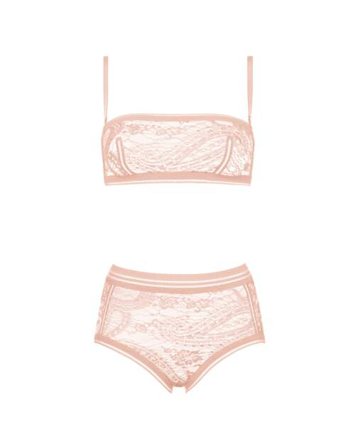 Brassière Mousson en dentelle Leavers (370 €) + culotte Gingembre en dentelle Leavers (245 €)