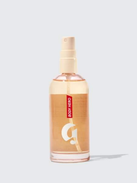 La 1ère huile sèche de la plus désirable des marques américaines s'est glissée dans un flacon vaporisateur malin. Difficile de ne pas être addict à son parfum de néroli. Body Hero Dry-Touch Oil Mist Huile en brume toucher sec, Glossier, 26€