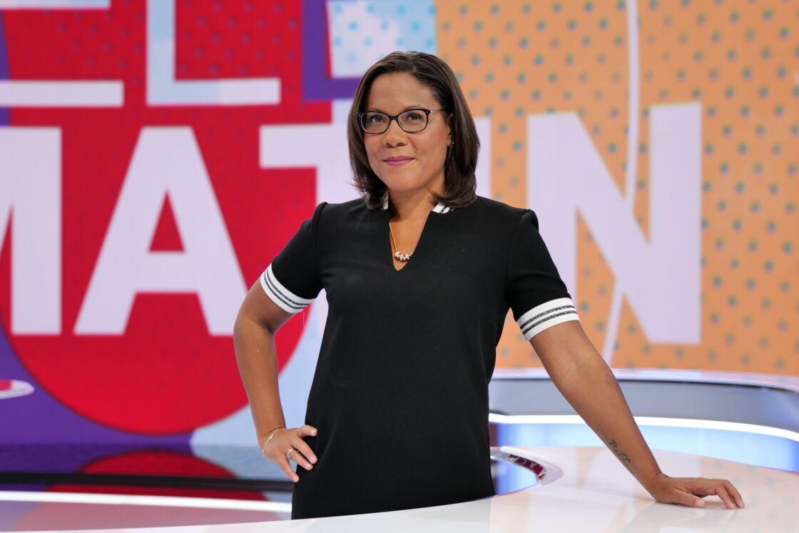 Karine Baste-Régis, sur le plateau de Télématin, émission dans laquelle elle évoluait au côté de Laurent Bignolas.