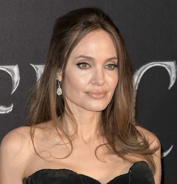 Angelina Jolie arbore des mèches folles et une demie-queue de cheval bohême