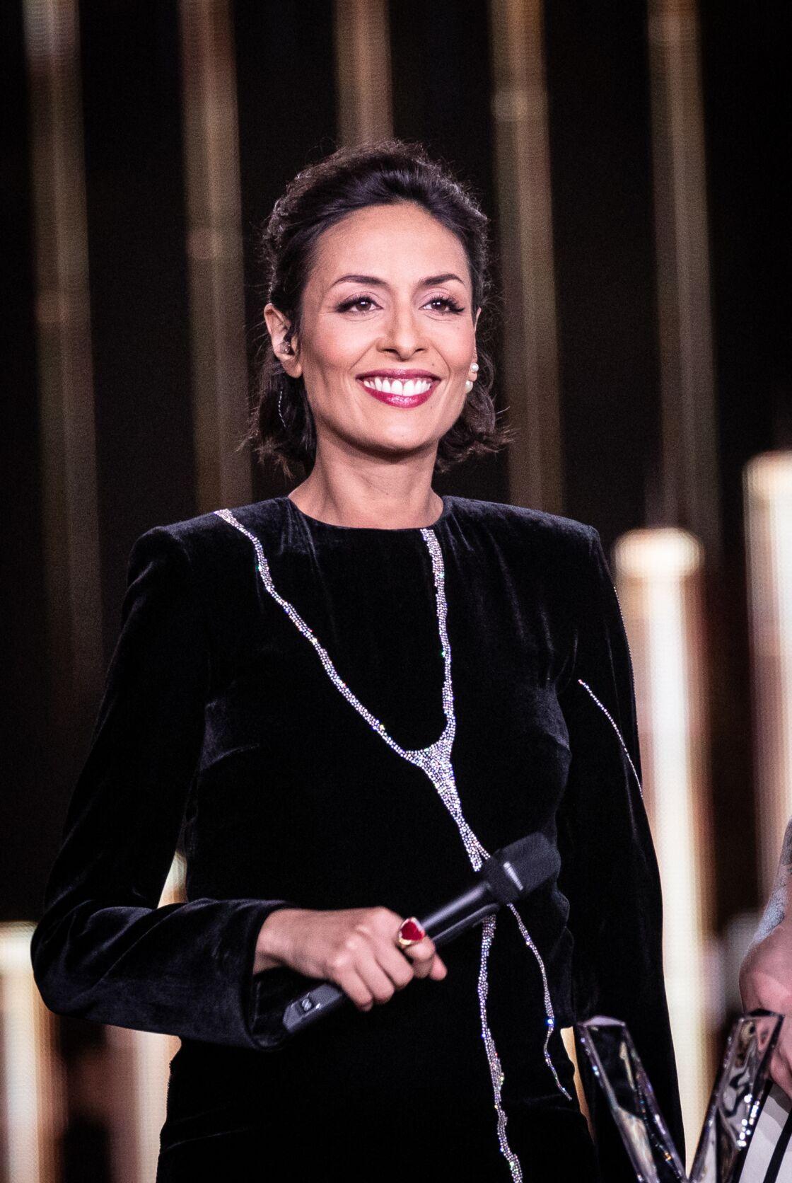 Leïla Kaddour-Boudadi (enceinte de son premier enfant) lors de la 35ème cérémonie des Victoires de la musique à la Seine musicale de Boulogne-Billancourt, le 14 février 2020.