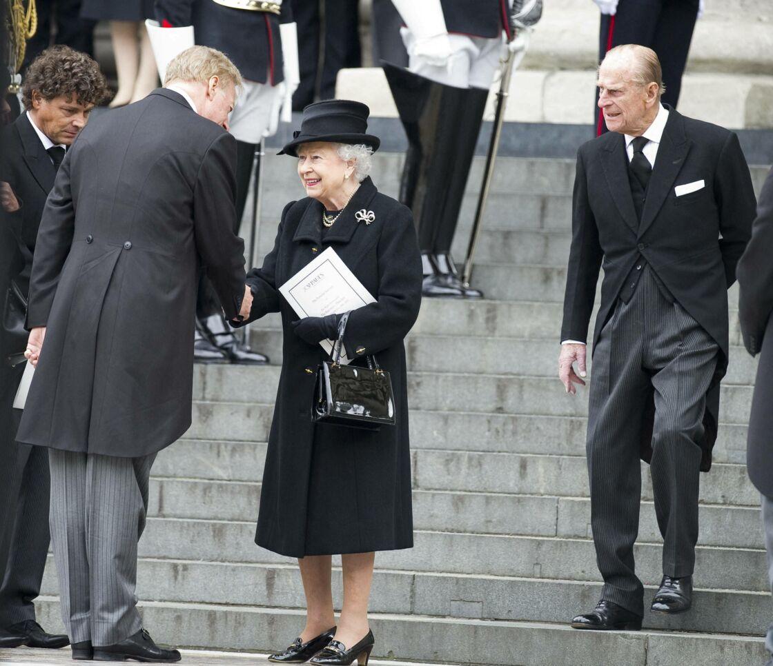 Elizabeth II et le prince Philip, présents aux obsèques de Margaret Thatcher, le 17 avril 2013.