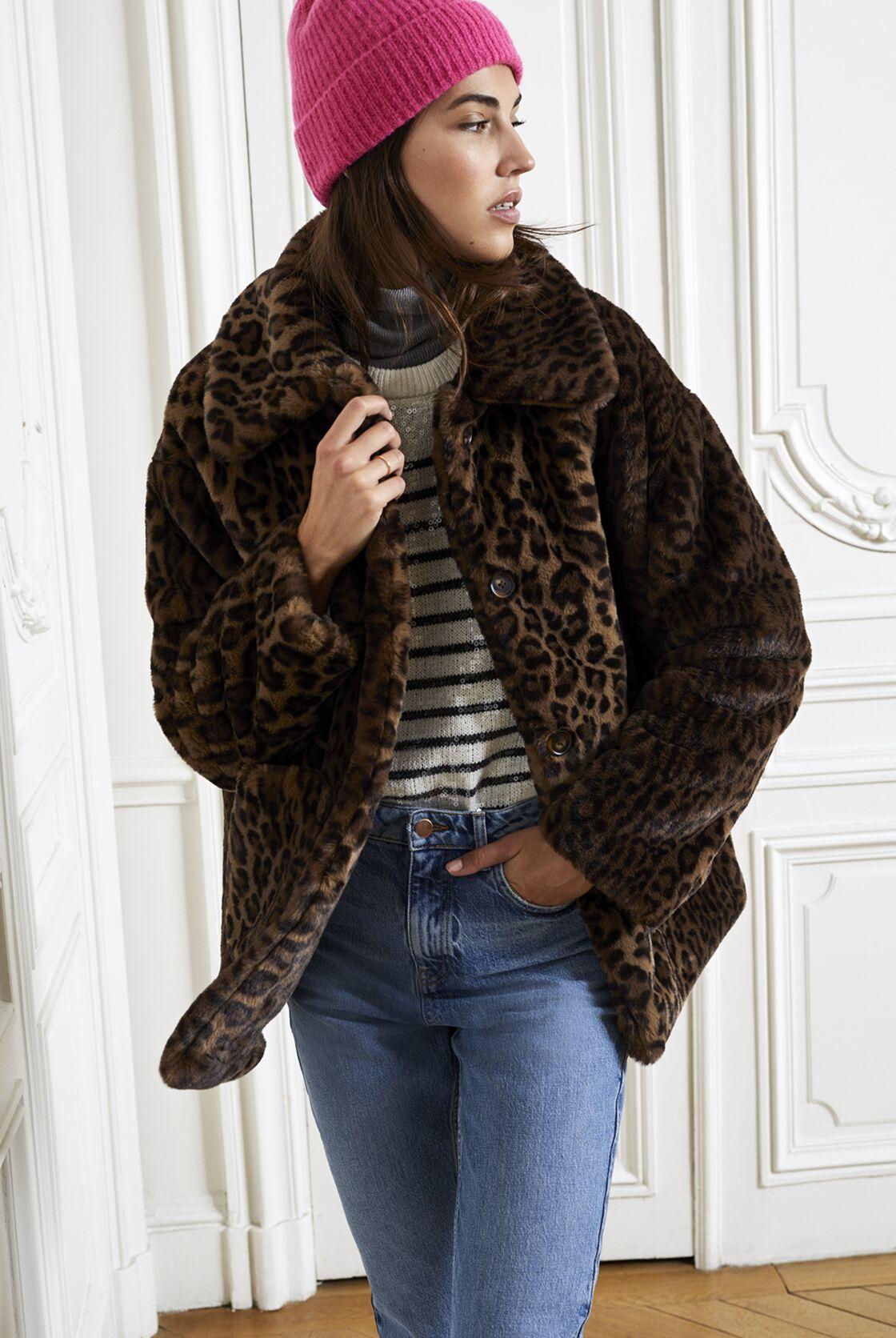 Manteau fausse fourrure imprimés léopard, 99,99€, Etam