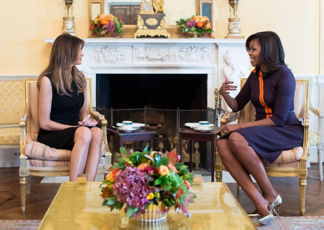 Melania Trump et Michelle Obama prennent le thé à la Maison Blanche, le 10 novembre 2016.