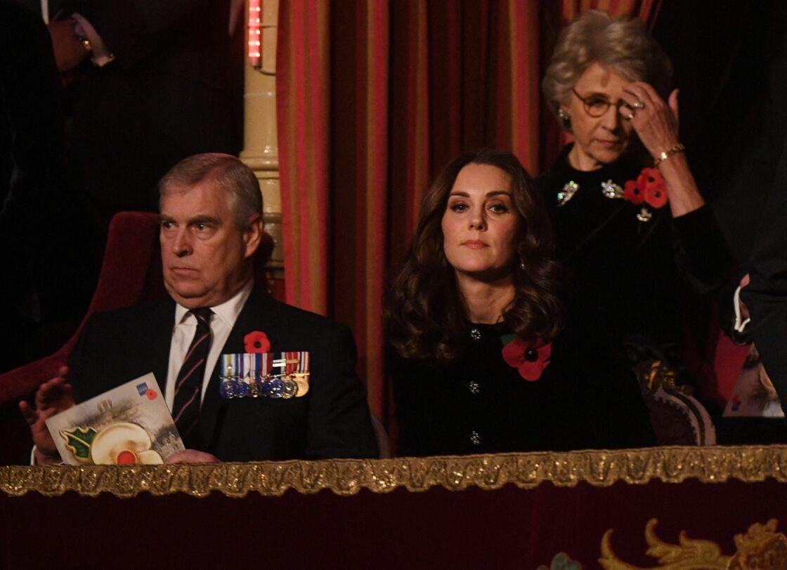 Le prince Andrew et Kate Middleton au théâtre Albert Hall de Londres, le 11 novembre 2017.