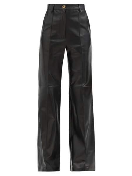 Pantalon évasé en cuir, 2,700€, Gucci sur matchesfashion