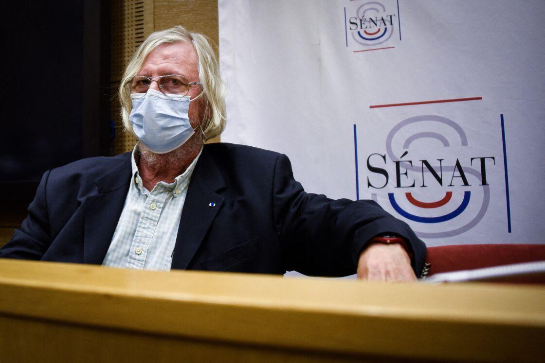 Didier Raoult, lors d'une audition au Sénat pour la commission d'enquête sénatoriale « pour l'évaluation des politiques publiques face aux grandes pandémies à la lumière de la crise sanitaire de la covid-19 et de sa gestion » à Paris, le 15 septembre 2020.