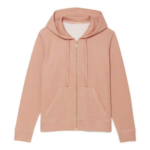 Sweat molleton rose et capuche, jersey 100% coton bio, 35,99€, Monoprix