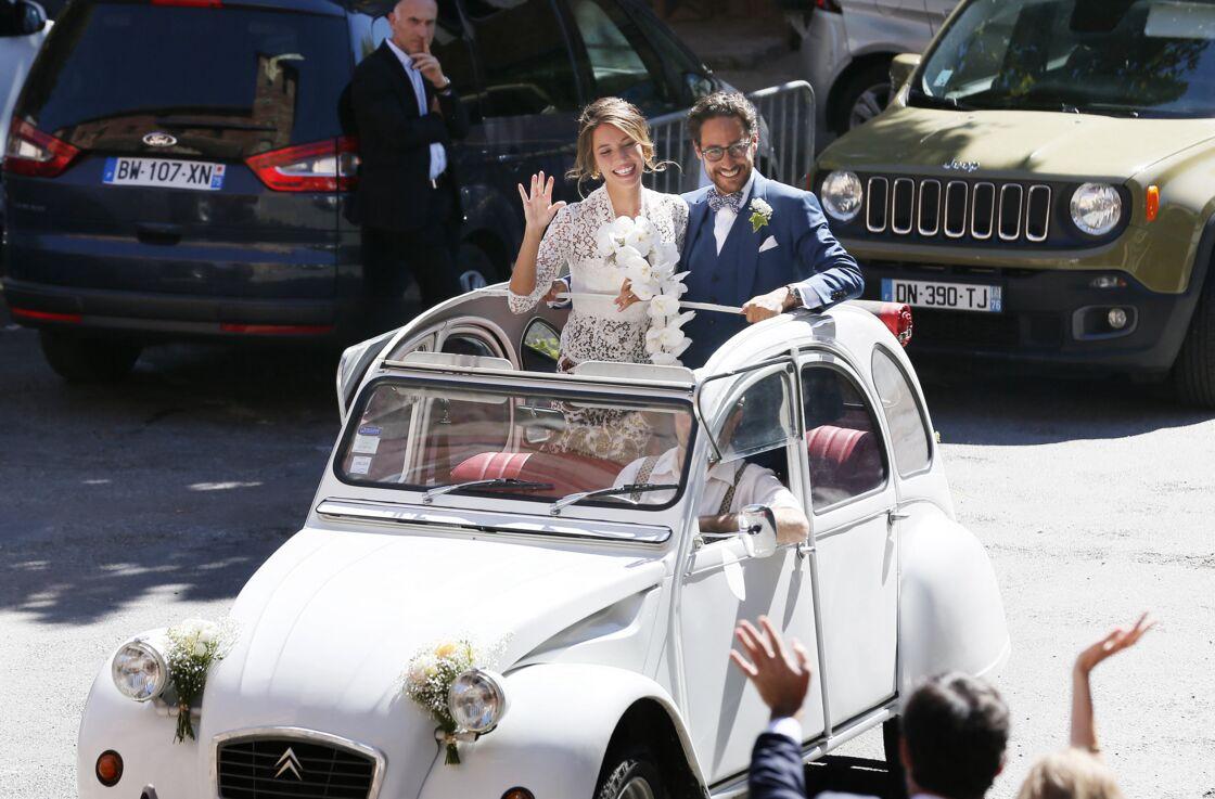 Mariage de Thomas Hollande et de la journaliste Emilie Broussouloux l'église de Meyssac en Corrèze, près de Brive, ville d'Emiie. Le 8 Septembre 2018.