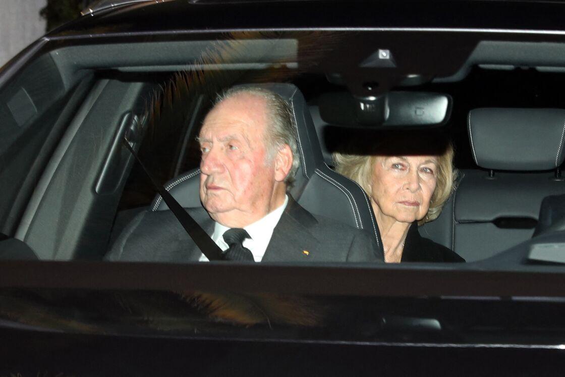e roi Juan Carlos Ier et la reine Sofia d'Espagne - La famille royale d'Espagne se recueille après le décès de l'Infante Maria del Pilar de Bourbon à Madrid, le 8 janvier 2020