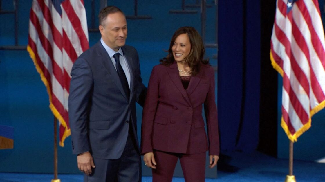 Douglas Emhoff et Kamala Harris lors de la convention nationale démocrate, à Wilmington (Delaware) le 17 août 2020.