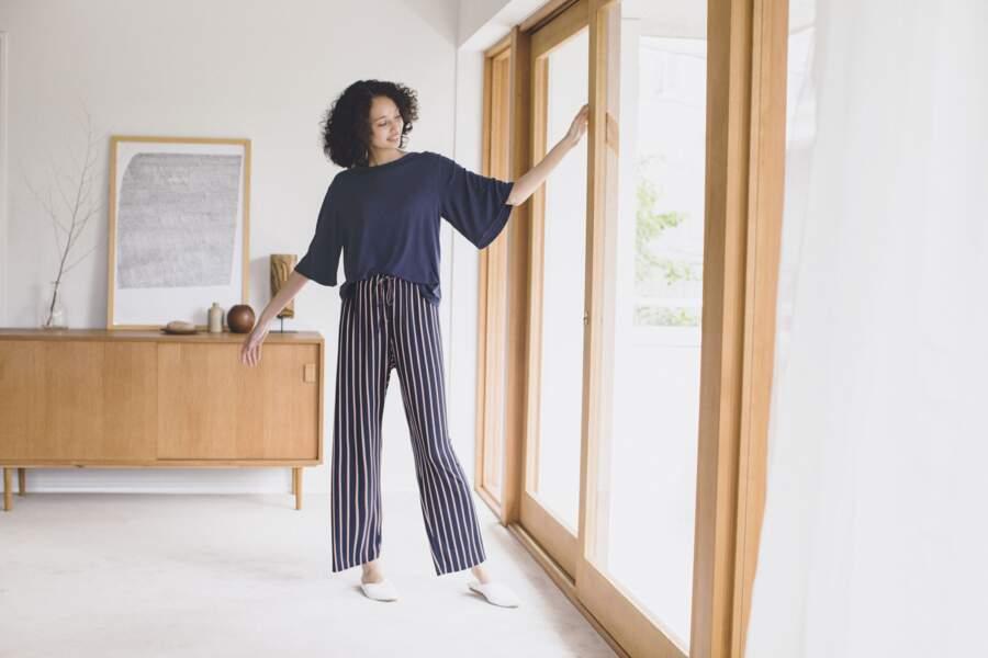 Top drapé et pantalon  rayé en coton - Uniqlo, 19,90€ et 14,90€
