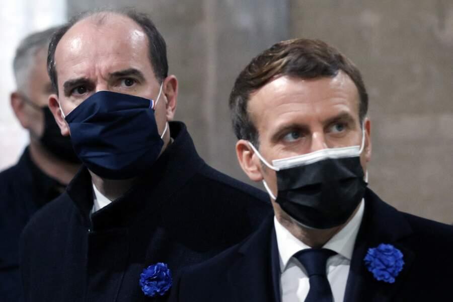 Le président de la République, Emmanuel Macron et le premier ministre Jean Castex