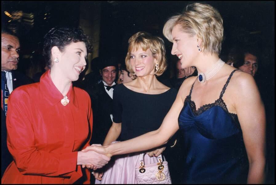 La princesse Diana et Isabelle Adjani au 50e anniversaire de la Maison Christian Dior à New York, le 11 décembre 1996