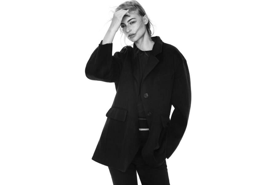 Veste oversize en laine mélangée, 159,99€, Collaboration Jil Sander et Uniqlo