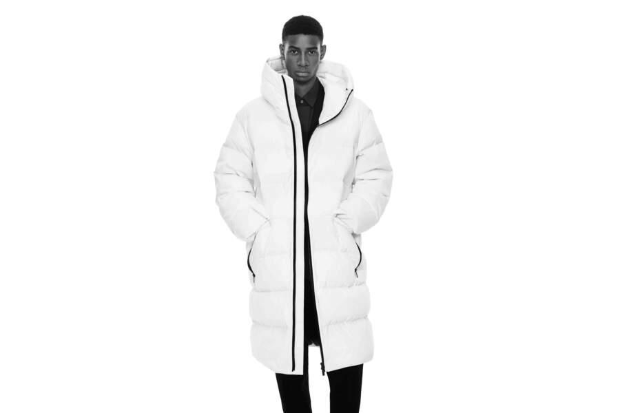 Doudoune longue blanche, 129,90€, Collaboration Jil Sander et Uniqlo