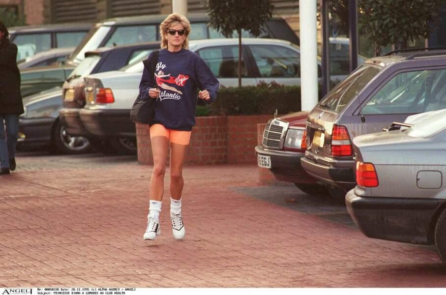 La princesse Diana dans les rues de Londres sortant du club Health, le 20 novembre 1995