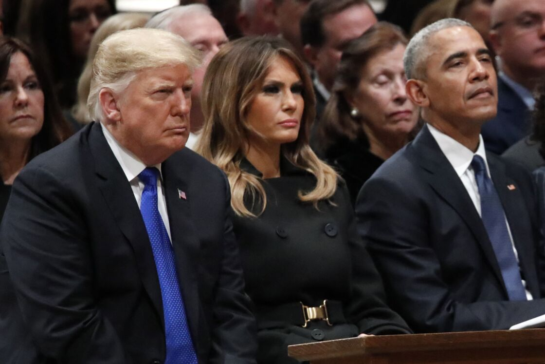 Donald et Melania Trump et Barack Obama aux obsèques de George H. W. Bush le 5 décembre 2018
