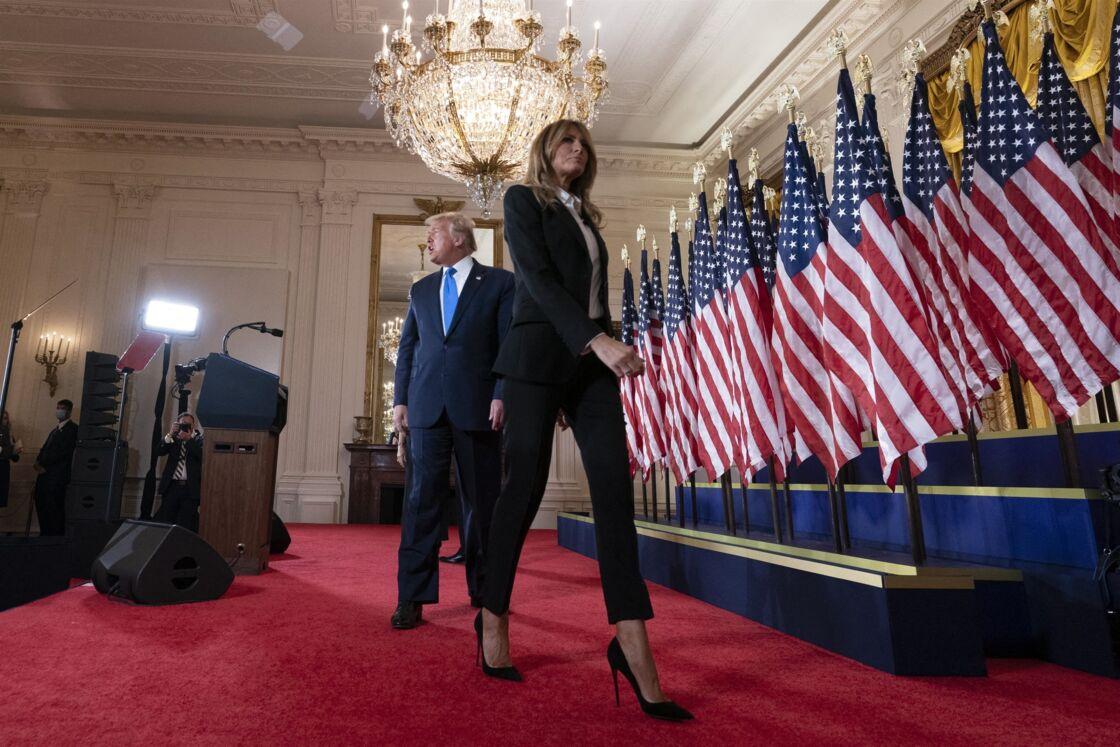 Melania Trump - Le président Donald Trump fait une déclaration le soir des élections présidentielles depuis la Maison Blanche à Washington le 4 novembre 2020.