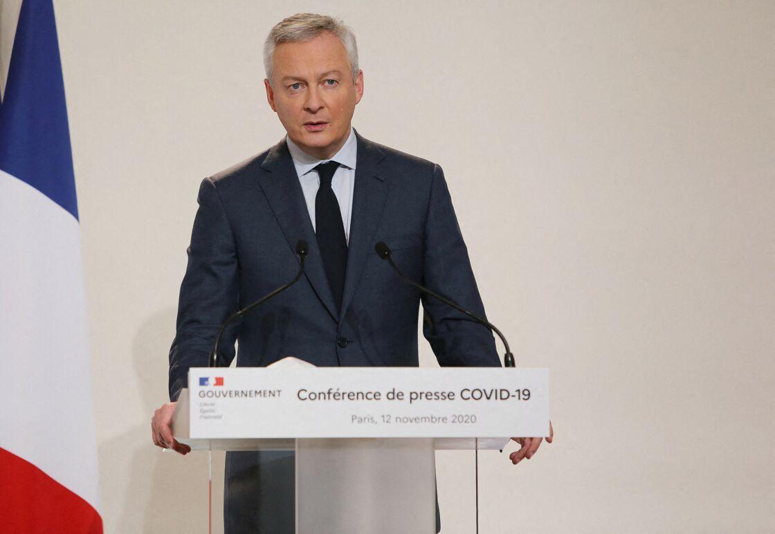 Bruno Le Maire, ministre de l'économie, des finances et de la relance lors de la conférence de presse sur la situation de l'épidémie de coronavirus (COVID-19) au ministère de la santé à Paris le 12 novembre 2020
