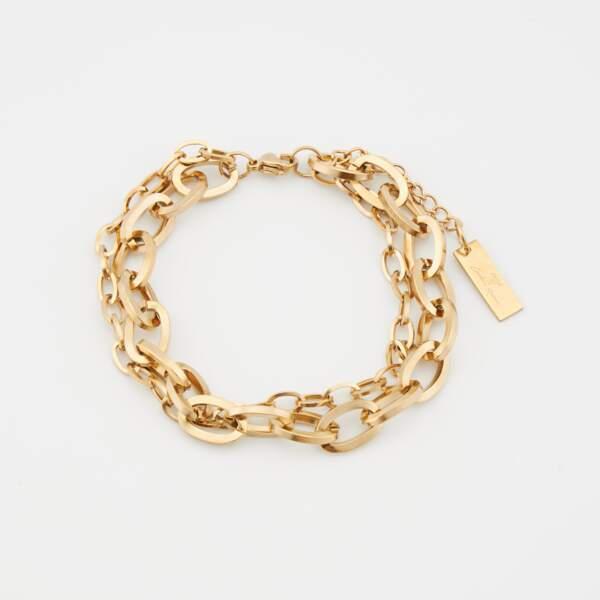 Bracelet double rang gros maillons, Moa x Caroline Receveur. 29,99€
