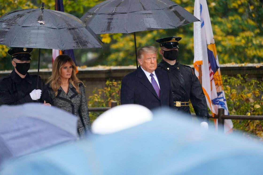 Melania Trump - Le président des Etats-Unis Donald Trump lors de la journée des vétérans au cimetière d'Arlington en Virginie le 11 novembre 2020.