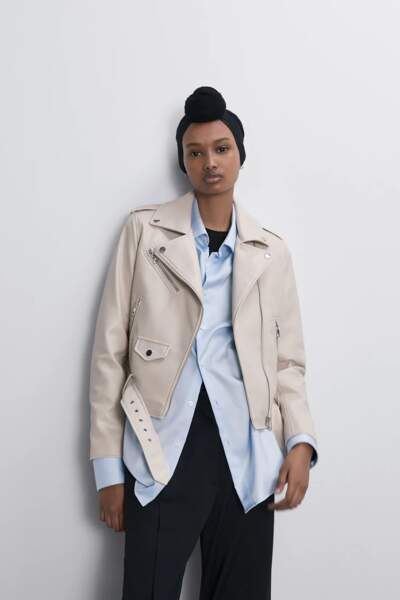 Blouson biker blanc, 39,95 €, Zara.
