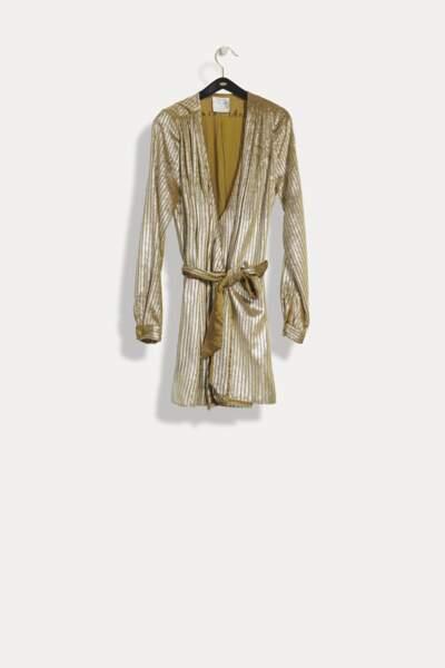Robe courte cache-coeur en velours lamé, Forte Forte, 645 €.