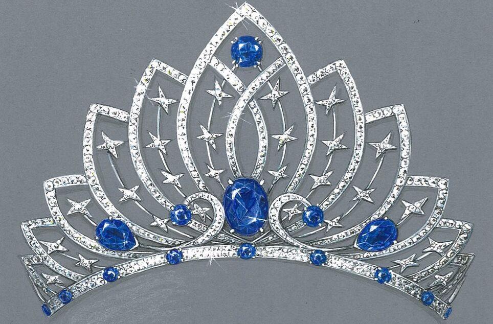 Pour couronner la 100e plus belle femme de France, Mauboussin pare sa création d'une myriade de ses étoiles signature et de 700 pierres blanches, couleur de la pureté, et bleues, de l'harmonie.