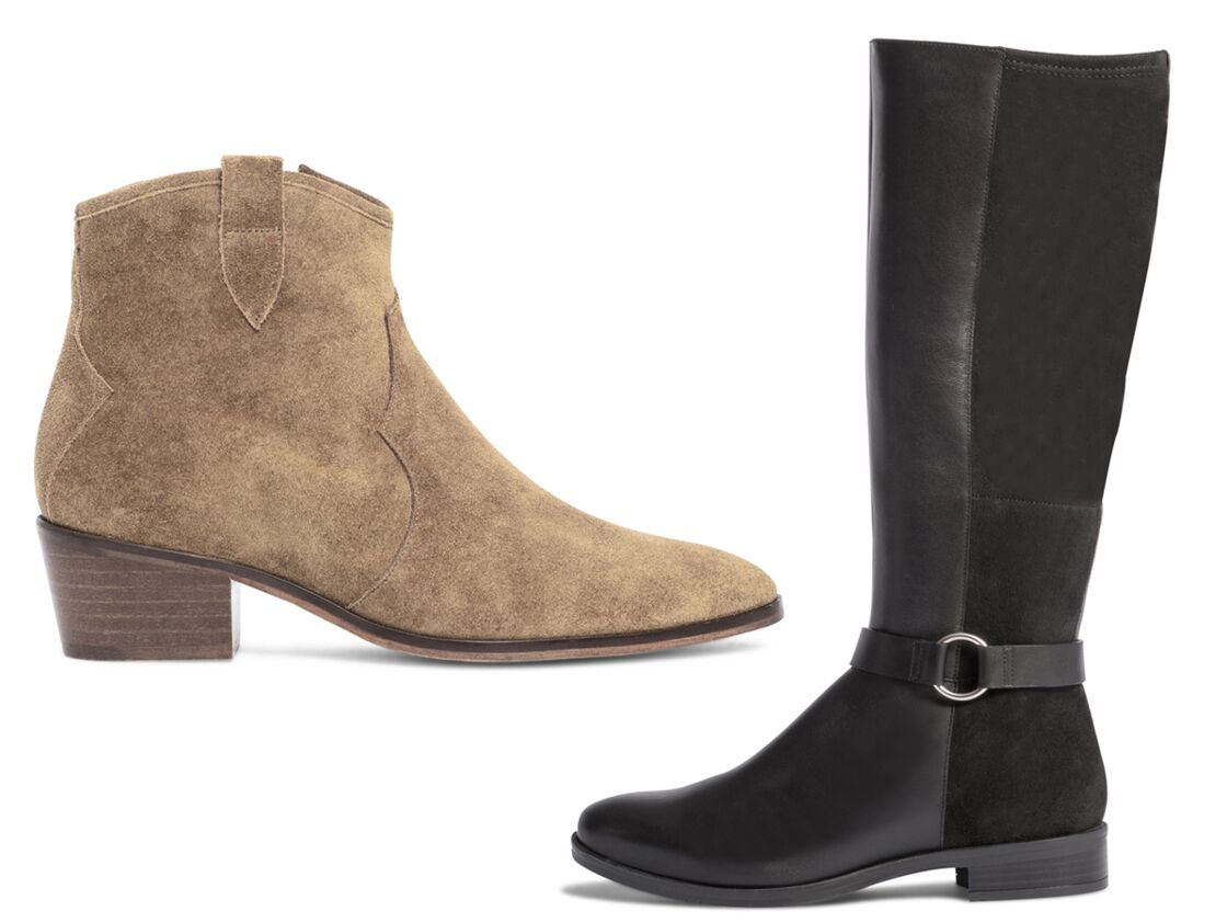 Bottines Galopa (99,90€), bottes Bibera (149,90€), stilettos (photo ouvertute) Texto Sanille (59,90€).