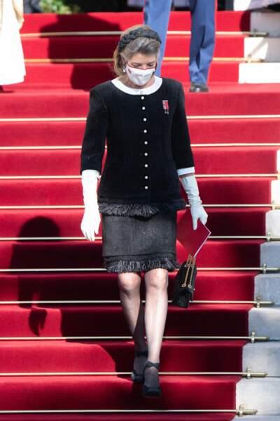 Caroline de Hanovre arborait une fois encore un look sobre, mais tout à fait élégant.