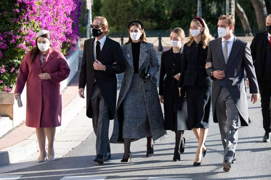 Andrea et Tatiana Casiraghi, Alexandra de Hanovre, Beatrice Borromeo et Pierre Casiraghi arrivent à la cathédrale de Monaco.