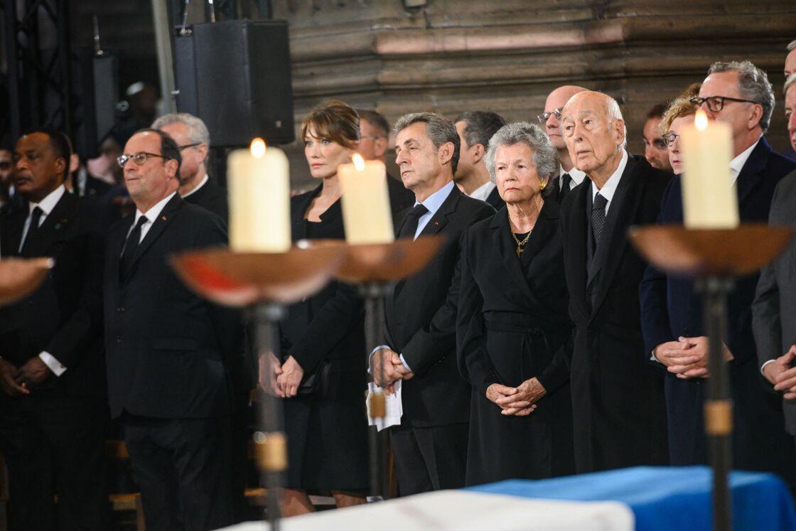 François Hollande et Nicolas Sarkozy lors des obsèques de Jacques Chirac, en l'église Saint-Sulpice (Paris), le 30 Septembre 2019.