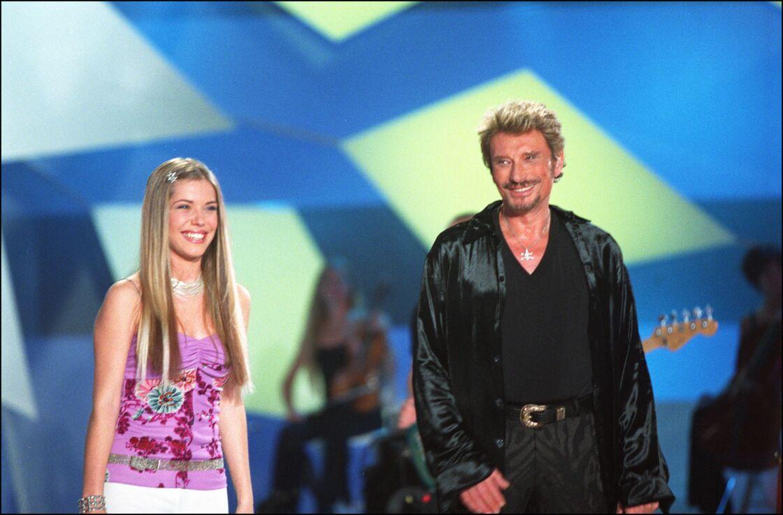 Emma Daumas et Johnny Hallyday dans la Star Academy, en 2002