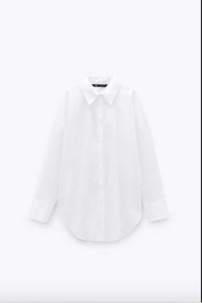Chemise blanche en popeline de tail, coton organique, 25,95€, Zara