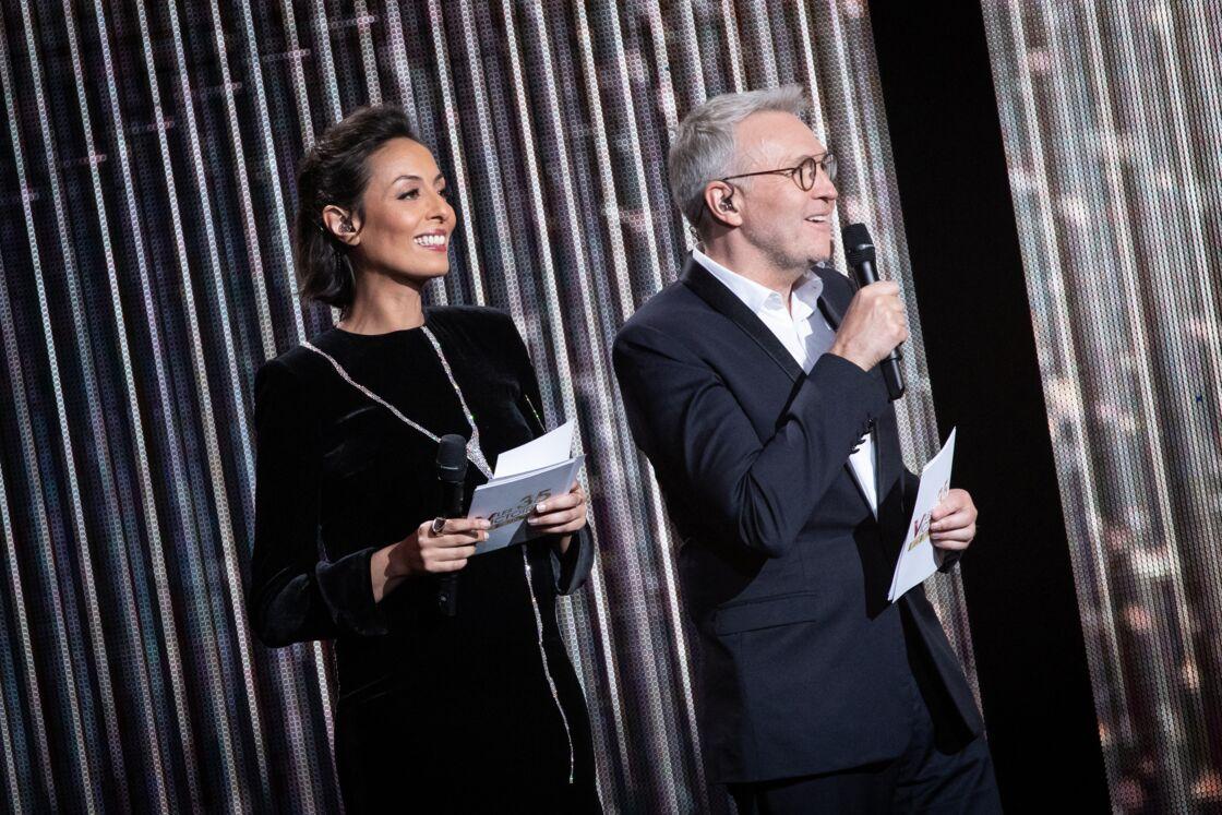 Leïla Kaddour-Boudadi et Laurent Ruquier lors de la 35ème cérémonie des Victoires de la musique à la Seine musicale de Boulogne-Billancourt, le 14 février 2020.