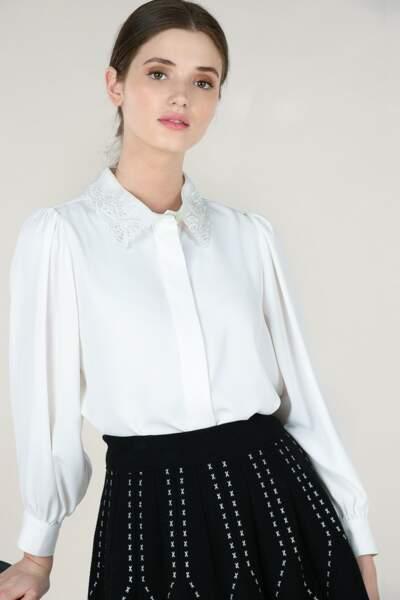 Chemise blanche col dentelle, 52,96€, Molly Bracken