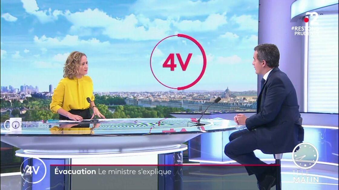 Caroline Roux interrogeant Gérald Darmanin dans Les 4 vérités sur France 2 le 25 novembre 2020