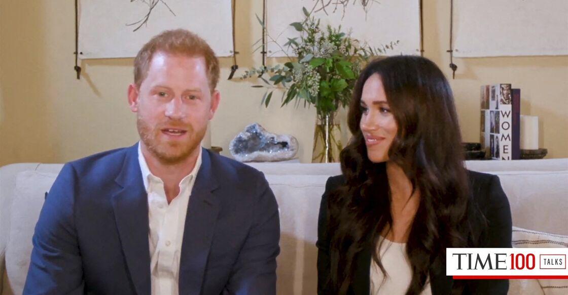 Le prince Harry et Meghan Markle en interview pour l'émission Engineering A Better World TIME 100, le 20 octobre 2020.