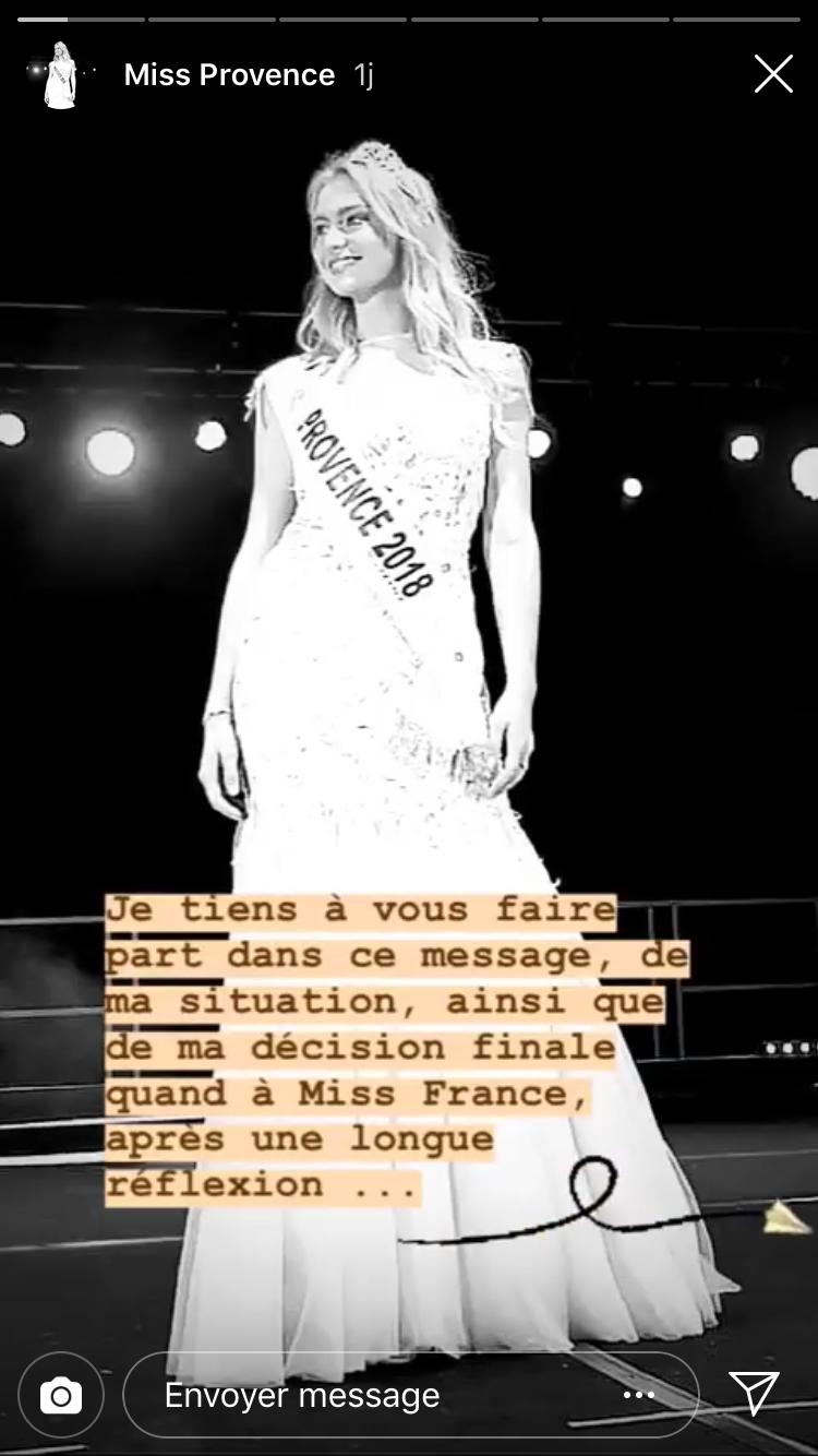 Aurélie Pons annonçant en story Instagram qu'elle renonçait à Miss France, en août 2018