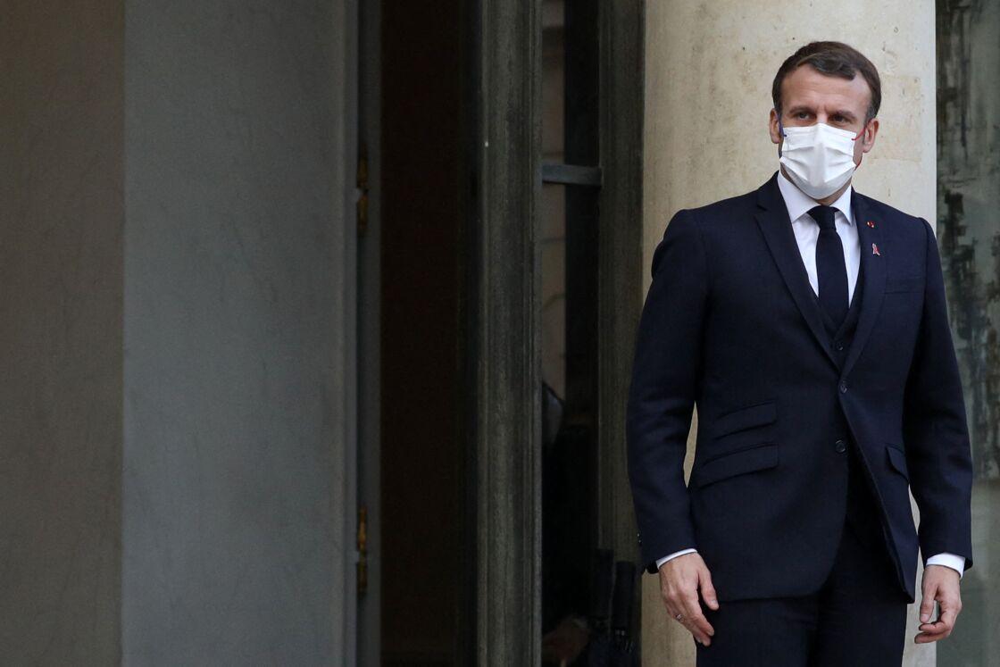 Le président de la république, Emmanuel Macron reçoit Alexander de Croo, Premier ministre du Royaume de Belgique pour un déjeunner de travail au palais de l'Elysée, Paris, France, le 1er décembre 2020 .