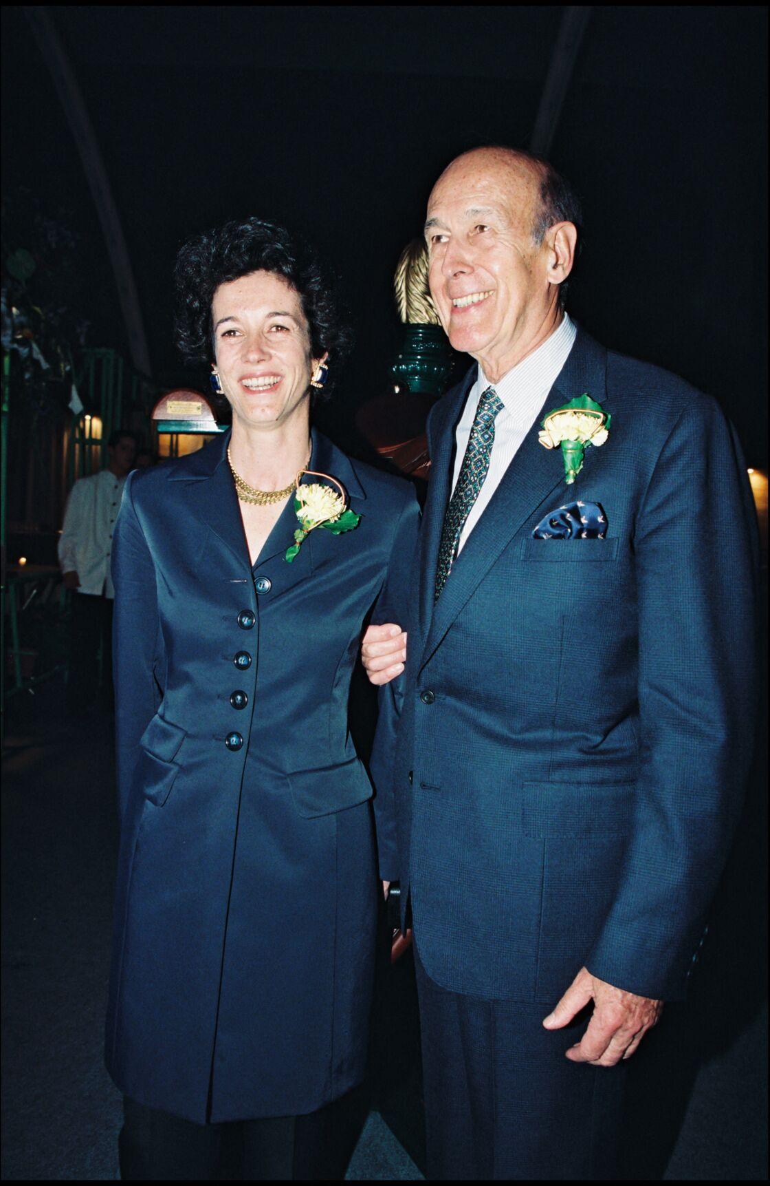 Valéry Giscard d'Estaing et sa fille Jacinte au Jumping de Paris-Bercy, , le 2 mars 1997.
